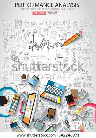 Performance Analysis concet with Doodle design style :finding solution, brainstorming, creative thinking. Modern style illustration for web banners, brochure and flyers. - stock vector