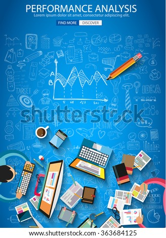 Performance Analytics concept with Doodle design style :teaching solution, studies, creative ideas. Modern style illustration for web banners, brochure and flyers. - stock vector