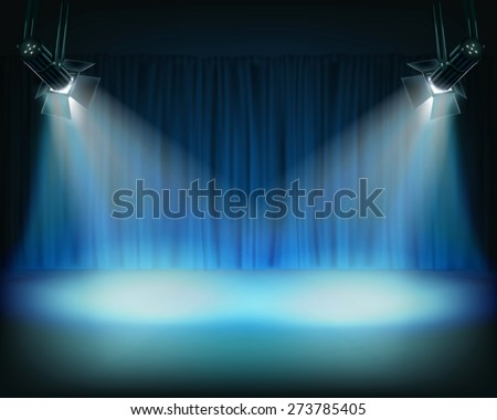 Performance in theatrical stage. Vector illustration. - stock vector