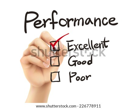 performance list checking by 3d hand over white background