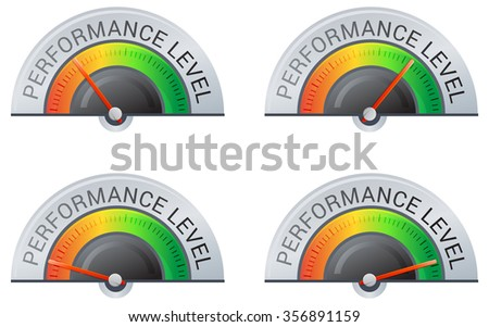 Performance Meter - 4 Stage  Illustration - stock vector