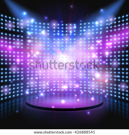 Performance stage with lightbulb glowing backdrop wall. Stage color light rays and sparks or flare. Vector abstract background - stock vector