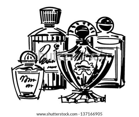 Perfume And Cologne Bottles - Retro Clip Art Illustration - stock vector