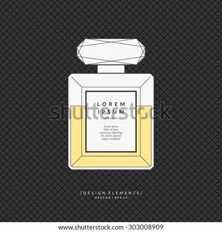 Perfume bottle. Elements for design, cards, poster.  - stock vector