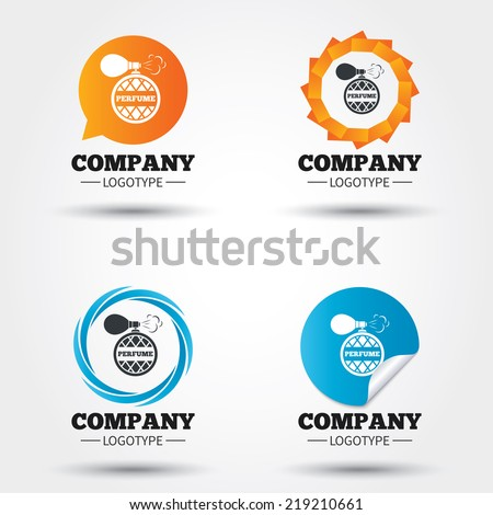 Perfume bottle sign icon. Glamour fragrance symbol. Business abstract circle logos. Icon in speech bubble, wreath. Vector - stock vector