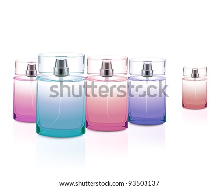Perfume bottles set - stock vector