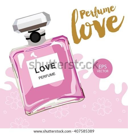 Perfume illustration for magazine - stock vector