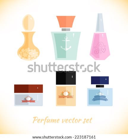 Perfume vector set. Beauty fashion collection on white background - stock vector