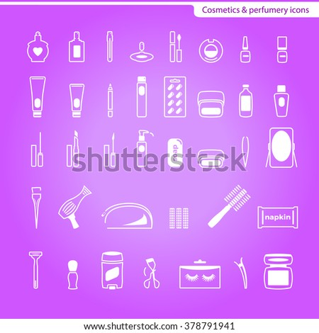 Perfumery and cosmetics icons pack