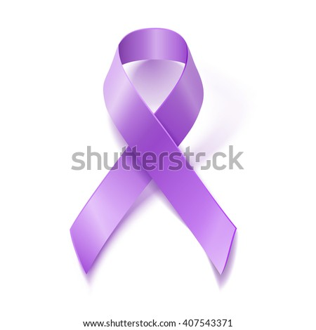Periwinkle ribbon on white background. Eating Disorder, Bulimia and other awareness symbol.