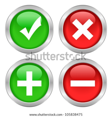 Permission buttons set, vector illustration - stock vector