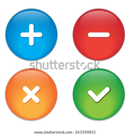 Permission buttons set, vector illustration. - stock vector