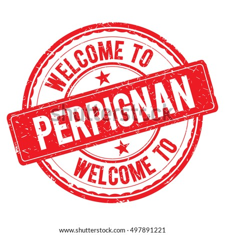 PERPIGNAN. Welcome to stamp sign illustration