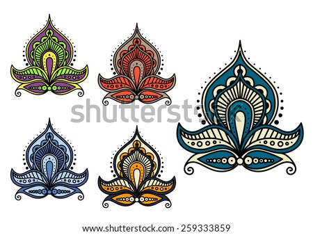 Persian and indian paisley flowers and patterns - stock vector