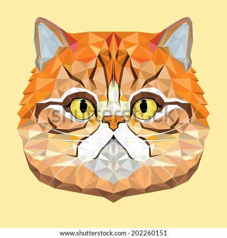 Persian Cat vector polygon geometric - stock vector