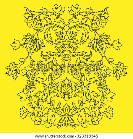 Persian floral ornament, black on yellow - stock vector