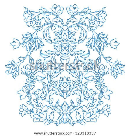 Persian floral ornament, blue on white - stock vector