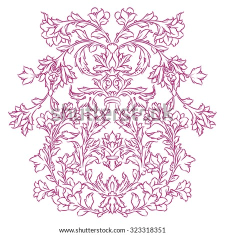 Persian floral ornament, purple on white - stock vector
