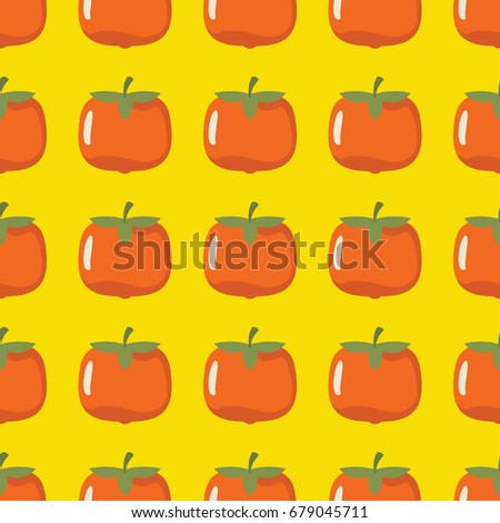 Persimmon vector seamless pattern. Cartoon fruit stylish texture. Repeating persimmon fruit seamless pattern background for friut design