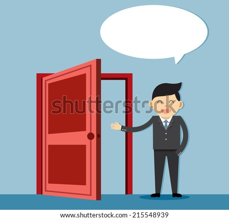 person and a open door. Businessman  - stock vector