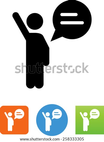 Person asking question, making a comment, or voting. Vector icons for video, mobile apps, Web sites and print projects.  - stock vector