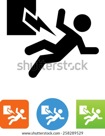 Person being injured by electricity symbol for download. Vector icons for video, mobile apps, Web sites and print projects.  - stock vector