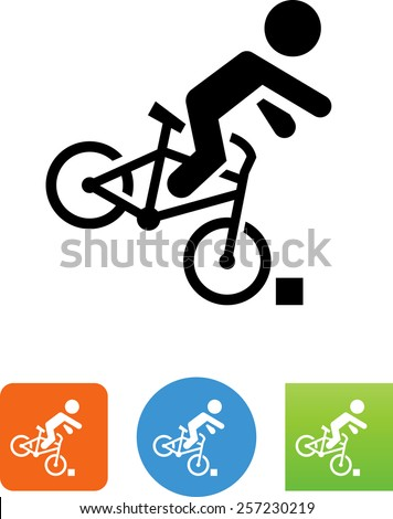 Person falling off a bicycle symbol. Vector icons for video, mobile apps, Web sites and print projects.  - stock vector