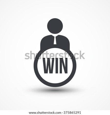 Person flat icon presenting word win concept isolated - stock vector