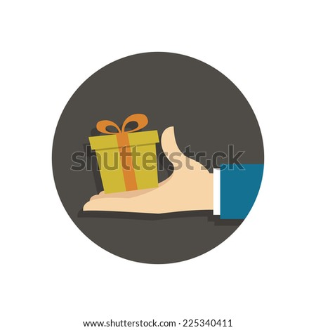 Person gives gift. Vector illustration in trendy flat style isolated on white background - stock vector