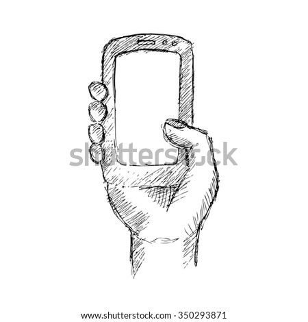 Person holding mobile in hand. Hand drawing illustration.  - stock vector