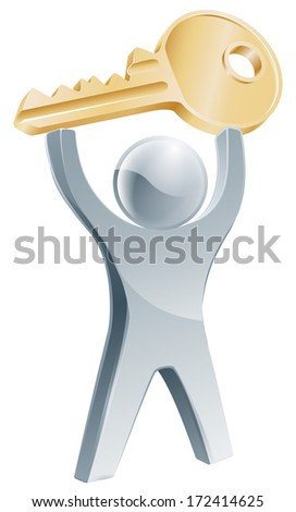 Person holding up key to success business concept, or for house or car related use - stock vector