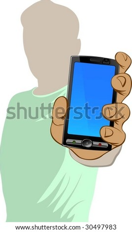 Person holds cell phone - stock vector