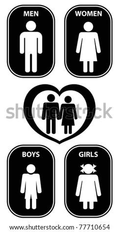 person icon black label - stock vector
