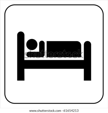 Person in bed. Hotel flat icon. Sleeping shelter sign. Isolated on white, vector