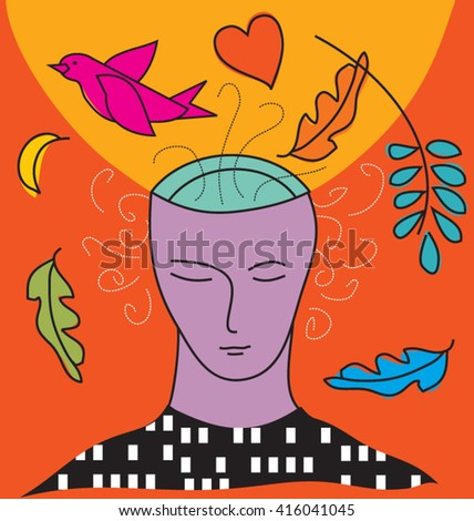 Person in nature and city - stock vector