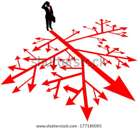 Person must find a way through complicated and confusing decision paths - stock vector