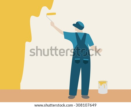 Person painting a color wall in house - stock vector