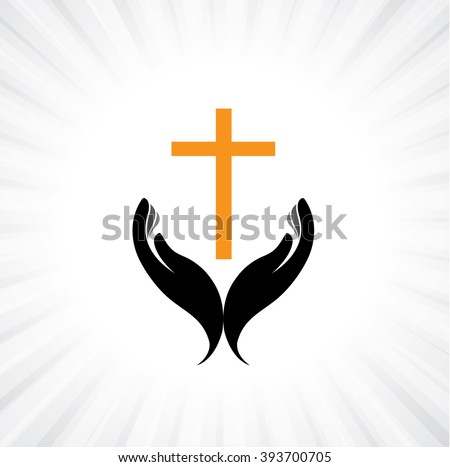 Person praying with cross in hand - concept of a devout christian worshiping Christ - stock vector