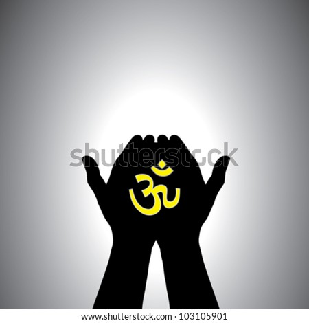 Person praying with sacred hindu symbol in hand - concept of a devout hindu worshiping god - stock vector