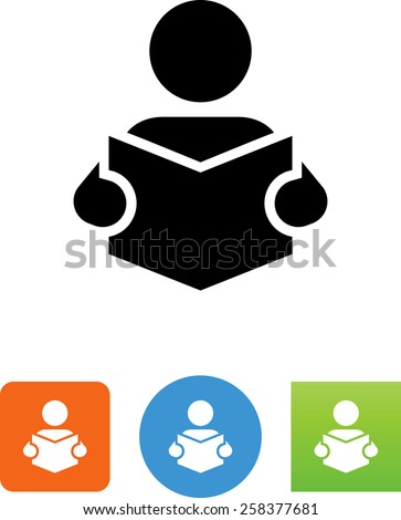 Person reading a book symbol for download. Editable vector icons for video, mobile apps, Web sites and print projects.  - stock vector