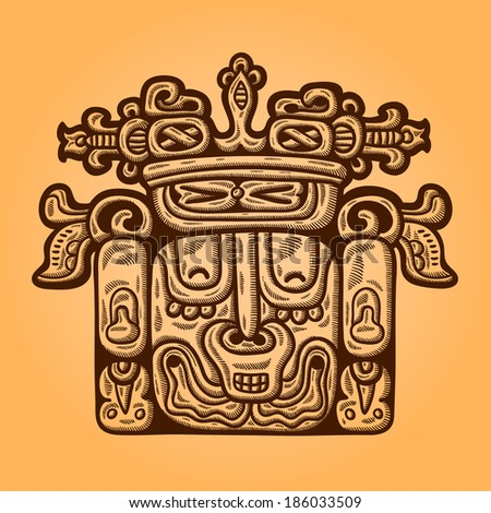 Person. Retro image of the Maya. Maya designs. Maya design elements. - stock vector