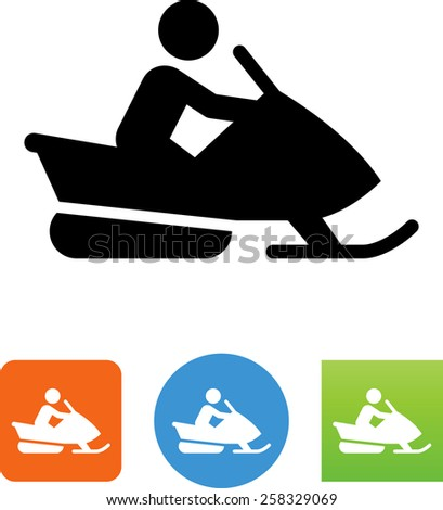 Person riding a snowmobile. Vector icons for video, mobile apps, Web sites and print projects. - stock vector