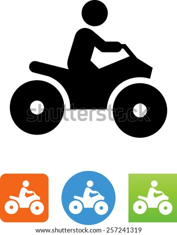 Person riding an all terrain vehicle. Vector icons for video, mobile apps, Web sites and print projects. - stock vector