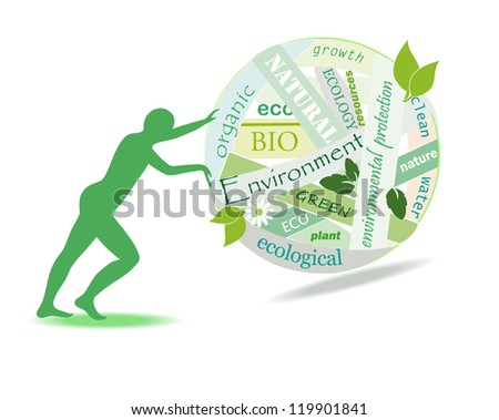 Person rolls a ball of environmental problems,  vector illustration - stock vector