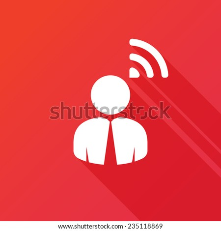 Person RSS sign | Wi-Fi isolated button icon. Modern flat icon with long shadow effect - stock vector
