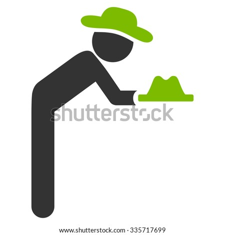 Person Servant vector icon. Style is bicolor flat symbol, eco green and gray colors, rounded angles, white background.