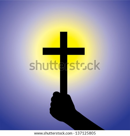 Person showing faith in lord by holding holy cross- vector graphic. This illustration is a concept of a devout faithful christian worshiping Jesus Christ with blue background and yellow sun