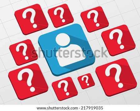 person sign with question marks - white symbols in blue and red flat design blocks, business creative concept, vector - stock vector