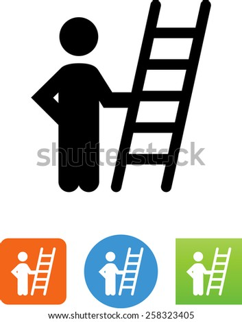 Person standing next to a ladder. Vector icons for video, mobile apps, Web sites and print projects.  - stock vector