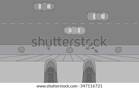 Person standing on the edge of the roof. Suicide concept sketch - stock vector